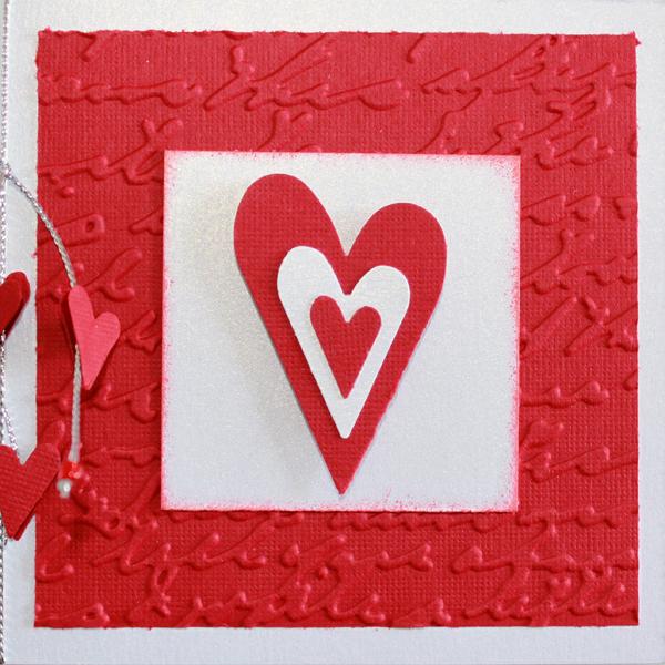 10×10 Rött och vitt kort med hjärtan