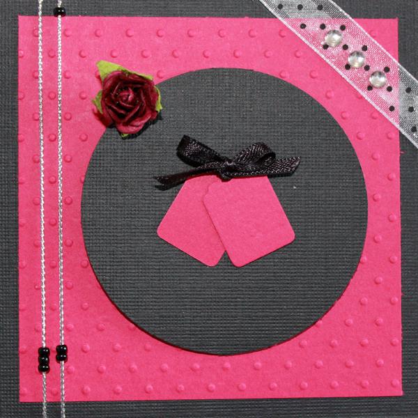 10×10 Rosa och svart kort med ros och organzaband
