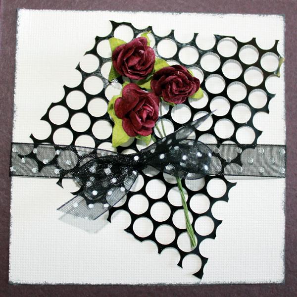 10×10 Kort med vinröda rosor