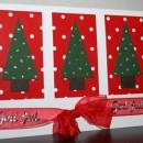 Julkort med egengjorda granar dekorerade med glitterlim