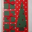Julkort med egengjord gran dekorerad med blingbling