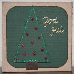 Julkort - grönt med glittergran