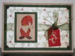 Julkort - i dova toner med tomte, etikett och band