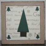 Julkort - guld med fem granar