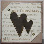 Julkort i guld med bruna glitterhjärtan