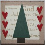Julkort i guld med röda hjärtan och gran