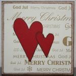 Julkort i guld med röda hjärtan