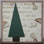 Julkort i guld med rivna kanter och gran