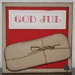 Julkort med paket, etikett och gran