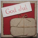 Julkort med paket och God Jul etikett