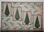 Julkort - i dova toner med granar och text