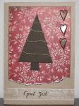 Julkort - rött och brunt med gran och hjärtan