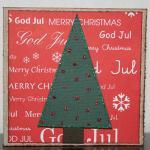 Julkkort i rött med glittergran