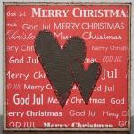 Julkort i rött med bruna glitterhjärtan