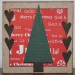 Julkort i rött med bruna hjärtan och gran
