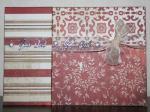 Julkort - med tre mönsterpapper och organzaband