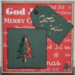 Julkort i rött med pop-up gran och etikett