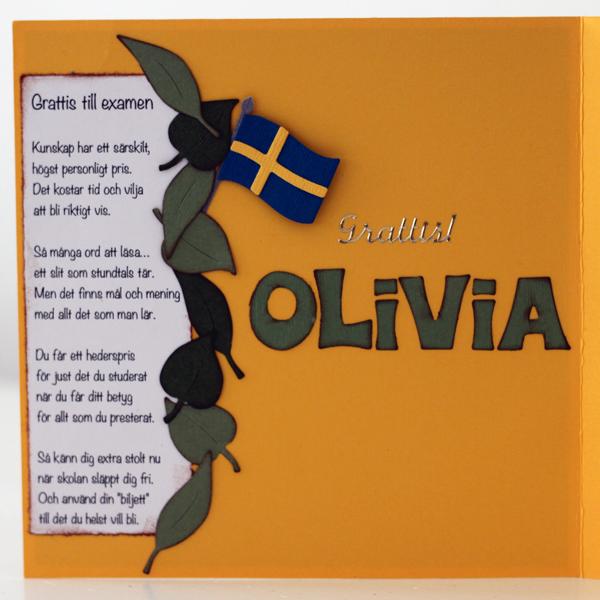 Studentkort Olivia 2012 - insidan med dikt från Siv Andersson